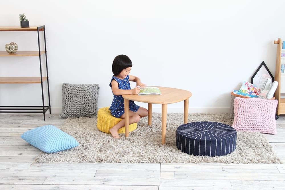 ICHIBA 日本純棉麻繩大圓地板坐墊-深藍